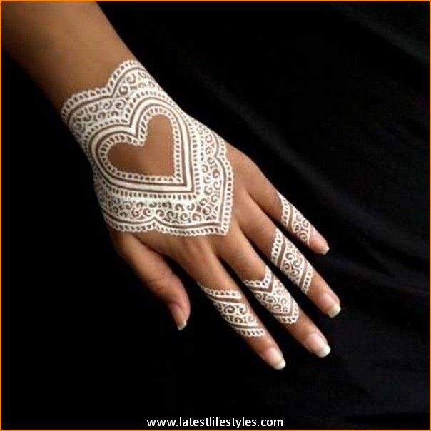 White Wedding Dress With Henna: Beautiful White Henna Tattoos For Hands