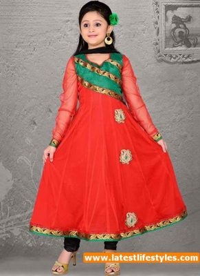 Red Color Fancy Frock New Design 2016
